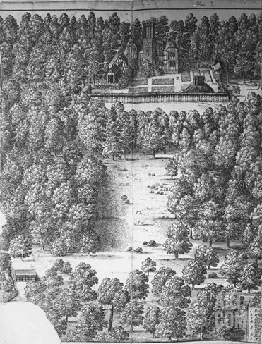 Boscobel House and Park, 1651 (Engraving) Stretched Canvas Print