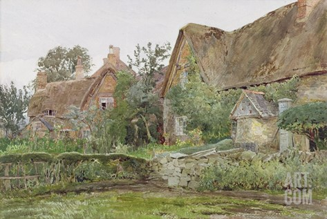 Thatched Cottages and Cottage Gardens, 1881 (W/C and Graphite on Paper) Stretched Canvas Print