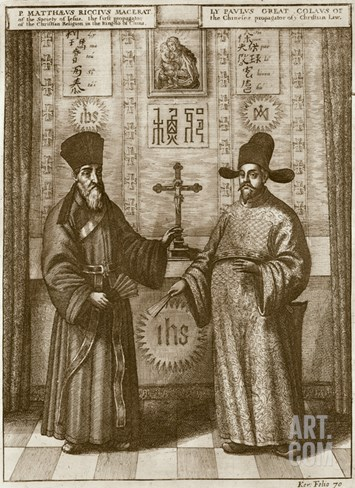 Matteo Ricci (1552-1610) and Paulus Li, from 'China Illustrated' by Athanasius Kircher (1601-80) Stretched Canvas Print
