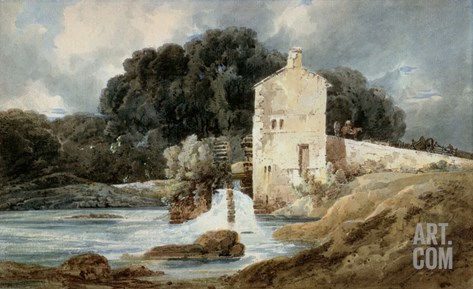The Abbey Mill, Knaresborough, C.1801 (W/C with Bodycolour over Graphite on Laid Paper) Stretched Canvas Print