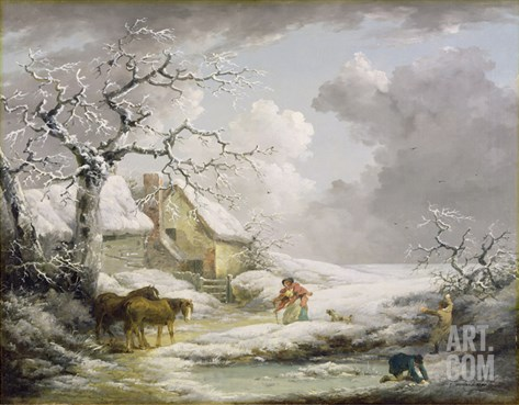 Winter Landscape with Men Snowballing an Old Woman, 1790 Stretched Canvas Print