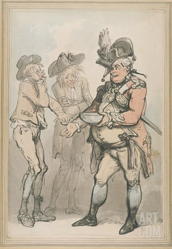 The Recruiting Sergeant, C.1790 (Pen and Ink and W/C on Paper) Stretched Canvas Print