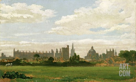 A View of Oxford (Oil on Millboard) Stretched Canvas Print