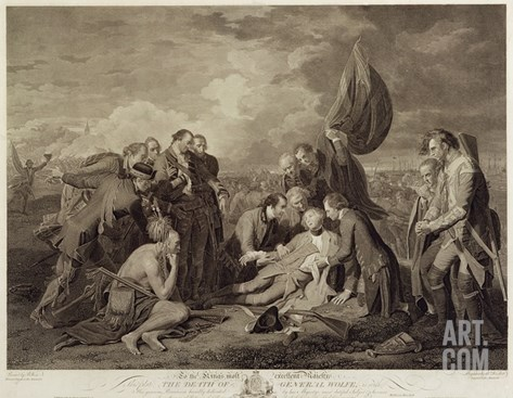 The Death of General Wolfe (1727-59), Engraved by William Woollett (1735-85) C.1776 (Engraving) Stretched Canvas Print