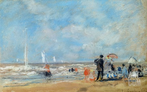 On the Beach, 1863 (W/C and Pastel on Paper) Stretched Canvas Print