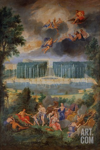 The Groves of Versailles. View of the Pool of Neptune and Walkway with the Judgement of Paris Stretched Canvas Print