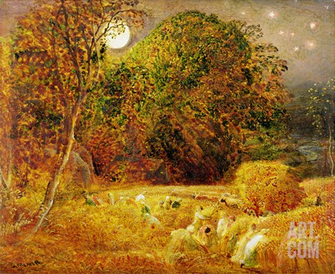The Harvest Moon, 1833 (Oil on Paper Laid on Panel) Stretched Canvas Print