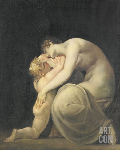 Tekemessa and Eurysakes, c.1800-10 Stretched Canvas Print