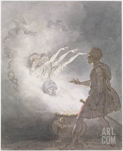 Macbeth and the Apparition of the Armed Head, Act IV, Scene I, from 'Macbeth' Stretched Canvas Print