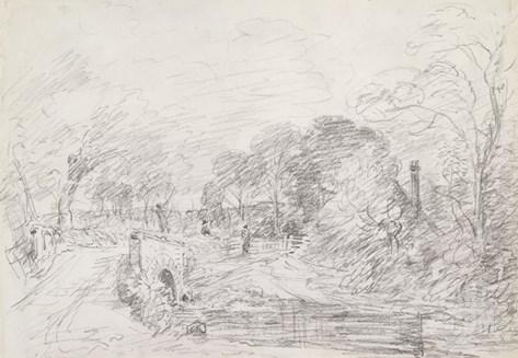 A Bridge Near Salisbury Court, C.1829 (Graphite on Paper) Stretched Canvas Print