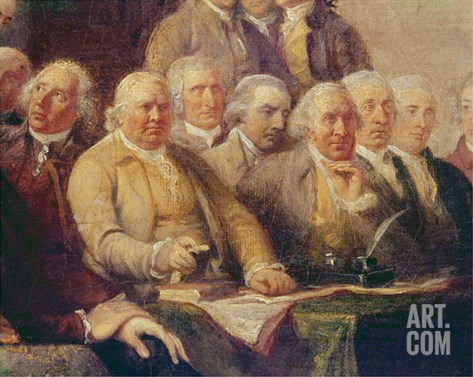 Drafting the Declaration of Independence, 28th June 1776, c.1817 (Detail) Stretched Canvas Print