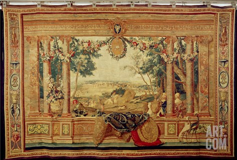 The Month of June/ Chateau of Fontainebleau, from the Series of Tapestries Stretched Canvas Print