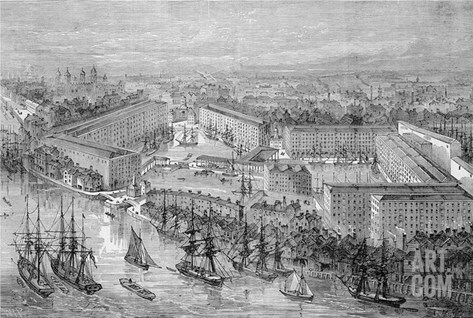 St. Katherine's Docks, London, Published in 'The Illustrated London News', 1871 (Engraving) Stretched Canvas Print