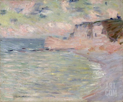 Cliffs and the Porte D'Amont, Morning Effect, 1885 Stretched Canvas Print