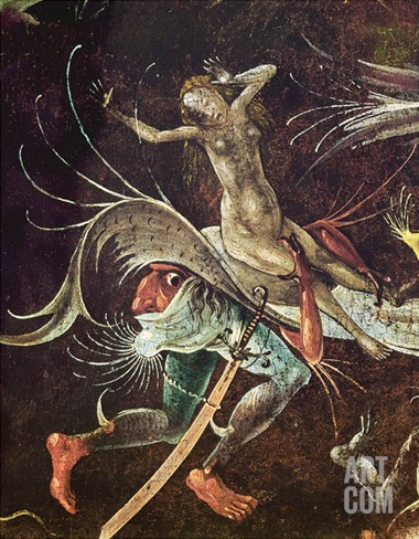 The Last Judgement, Detail of a Woman Being Carried Along by a Demon, C.1504 (Oil on Panel) Stretched Canvas Print