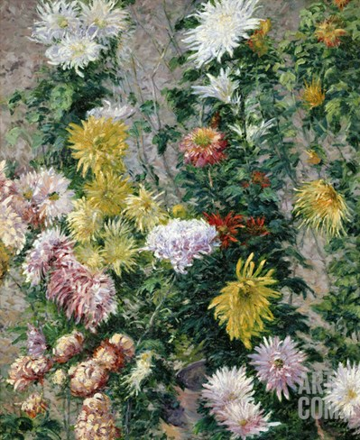 White and Yellow Chrysanthemums, 1893 Stretched Canvas Print