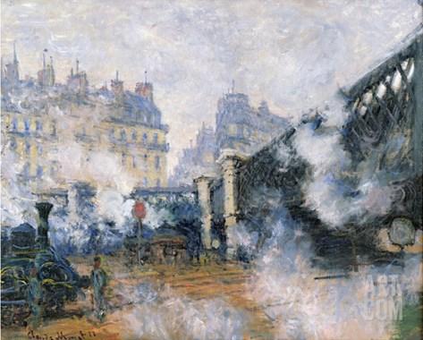 The Pont De L'Europe, Gare Saint-Lazare, 1877 Stretched Canvas Print