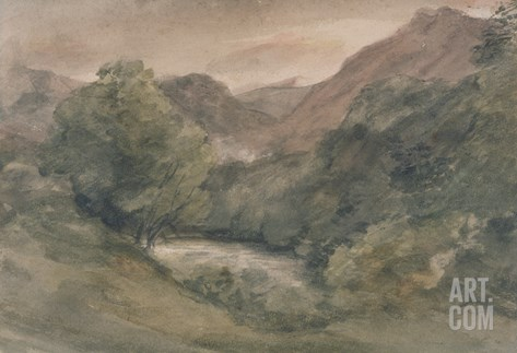 Borrowdale, Evening after a Fine Day, October 1, 1806 (W/C over Graphite on Paper) Stretched Canvas Print