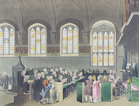 Court of Chancery, Lincoln's Inn Hall, Engraved by Constantine Stadler (Fl.1780-1812), 1808 Stretched Canvas Print