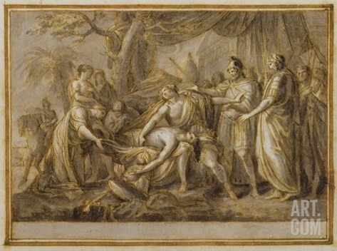 Achilles Lamenting the Death of Patroclus, 1760-63 (Pen and Ink and Wash on Paper) Stretched Canvas Print