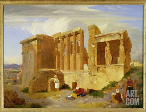 The Erechtheum, Athens, with Figures in the Foreground, 1821 Stretched Canvas Print