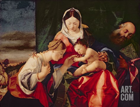 The Mystic Marriage of Saint Catherine, 1505/8 (Oil on Panel) Stretched Canvas Print