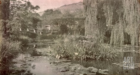 Waterlily Pond and Japanese Bridge in Monet's Garden at Giverny, Early 1920S (Photo) Stretched Canvas Print