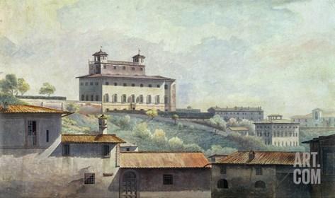 Villa Medici, Rome, C.1776 (Oil on Paper) Stretched Canvas Print