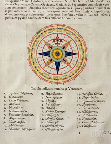 Wind Rose with the 32 Winds Ofthe World, from the 'Atlas Maior, Sive Cosmographia Blaviana', 1662 Stretched Canvas Print