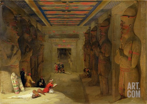 The Hypostyle Hall of the Great Temple at Abu Simbel, Egypt, 1849 (Oil on Panel) Stretched Canvas Print