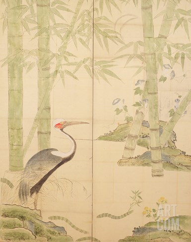 Bamboo and Crane, Edo Period (W/C on Panel) Stretched Canvas Print