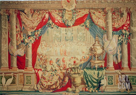 The Month of February, from the Series of Tapestries 'The Months or Royal Residences' Stretched Canvas Print
