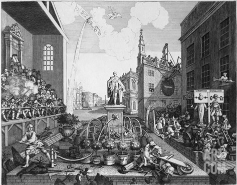The Times, Plate Ii (Engraving) Stretched Canvas Print