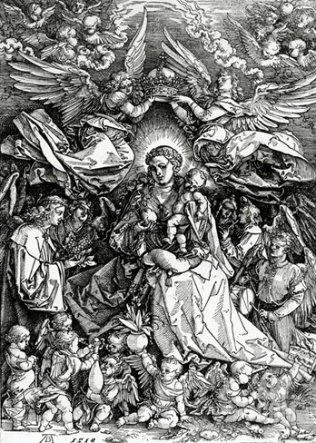 The Coronation of the Virgin and Child, 1518 (Woodcut) Stretched Canvas Print