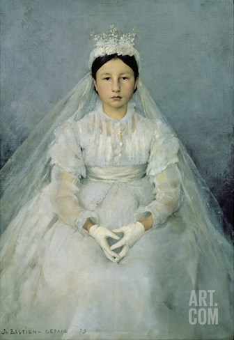 The Young Communicant, 1875 Stretched Canvas Print