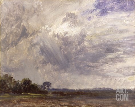 Landscape with Grey Windy Sky, C.1821-30 (Oil on Paper Laid Down on Millboard) Stretched Canvas Print