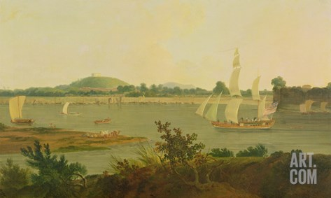 Pinnace Sailing Down the Ganges Past Monghyr Fort, c.1791 Stretched Canvas Print