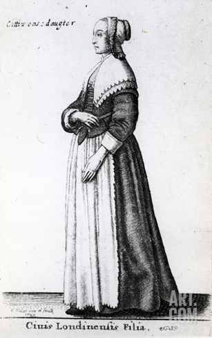 London Citizen's Daughter, 1643 (Etching) Stretched Canvas Print