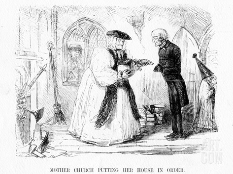 Mother Church Putting Her House in Order, Cartoon from 'Punch', 1850 (Engraving) Stretched Canvas Print