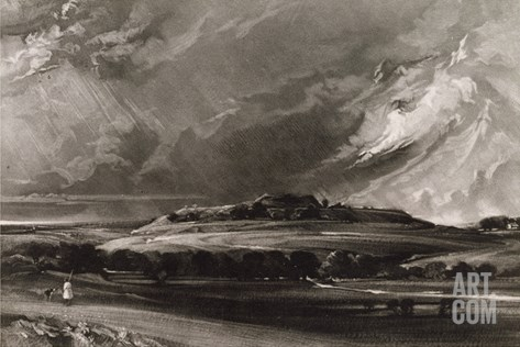 Old Sarum, Engraved by David Lucas (1802-81) C.1829 (Mezzotint) Stretched Canvas Print