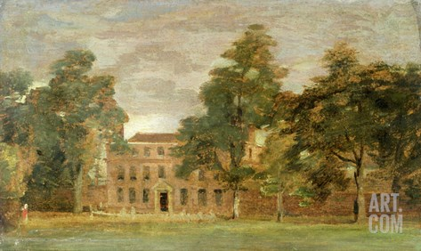 West Lodge, East Bergholt (Oil on Paper Laid on Panel) Stretched Canvas Print