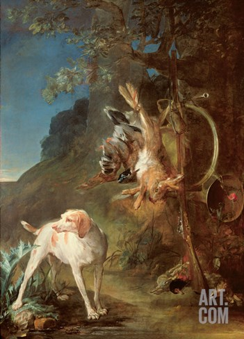 Dog and Game, 1730 Stretched Canvas Print
