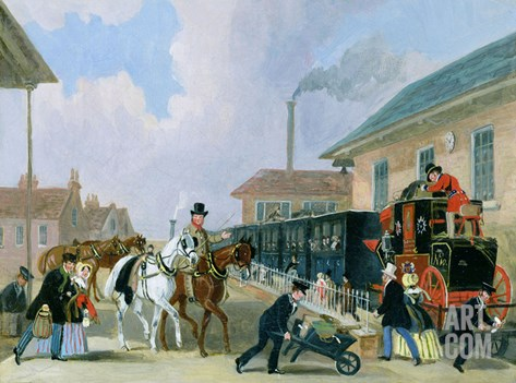 The Louth-London Royal Mail Travelling by Train from Peterborough East in December 1845 Stretched Canvas Print
