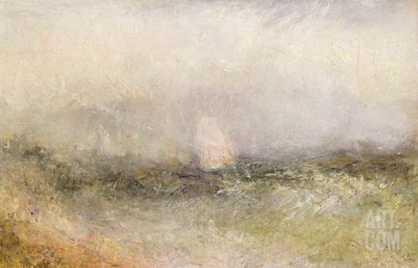 Off the Nore: Wind and Water, 1840-5 (Oil on Paper Laid Down on Canvas) Stretched Canvas Print