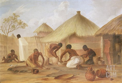Manufacture of Sugar at Katipo - Making the Panellas or Pots to Contain It, 1859 Stretched Canvas Print