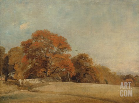 An Autumnal Landscape at East Bergholt, c.1805-08 Stretched Canvas Print