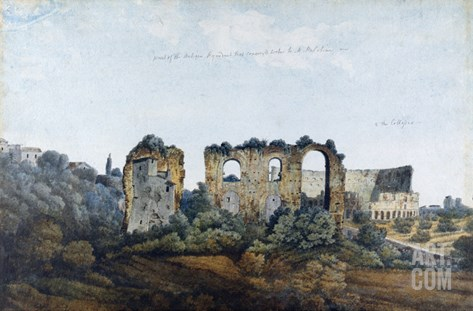 The Claudean Aqueduct and Colosseum, 1778 (W/C over Graphite on Laid Paper) Stretched Canvas Print