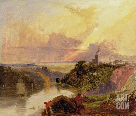 The Avon Gorge at Sunset (Oil on Paper) Stretched Canvas Print