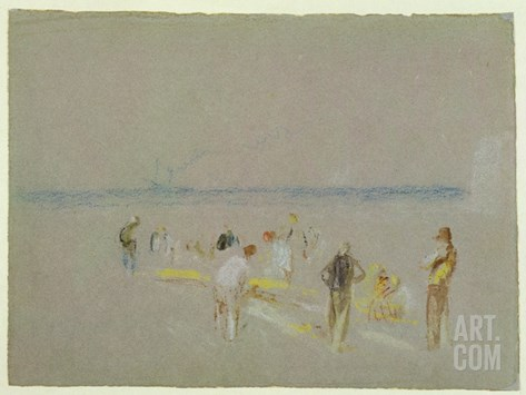Cricket on the Goodwin Sands (Chalk, W/C and Bodycolour on Paper) Stretched Canvas Print