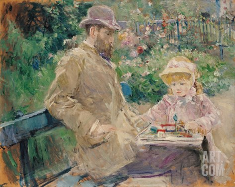 Eugene Manet (1833-92) with His Daughter at Bougival, c.1881 Stretched Canvas Print